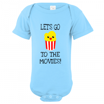 Let's Go To The Movies Baby Bodysuit Light Blue