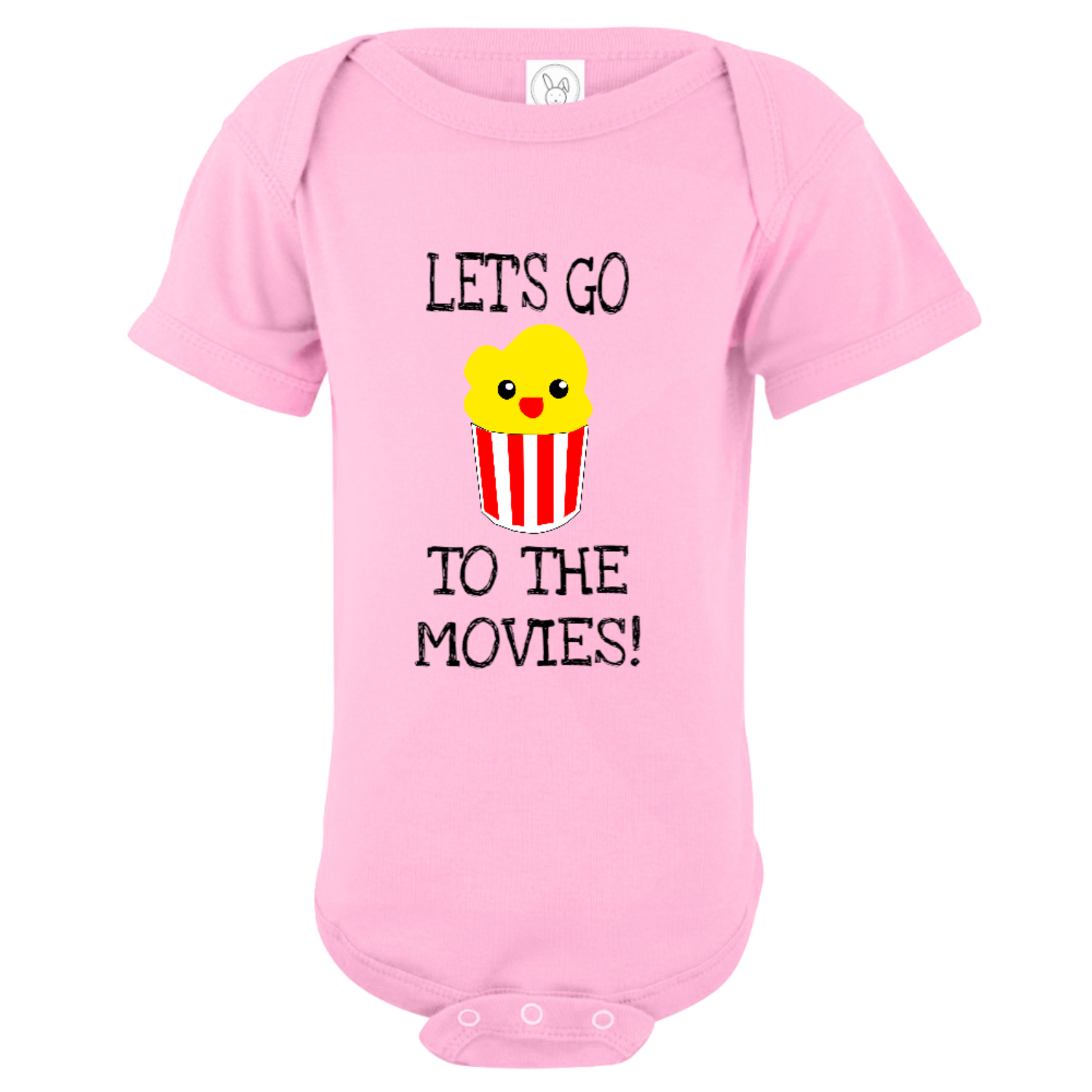 Let's Go To The Movies Baby Bodysuit Light Pink