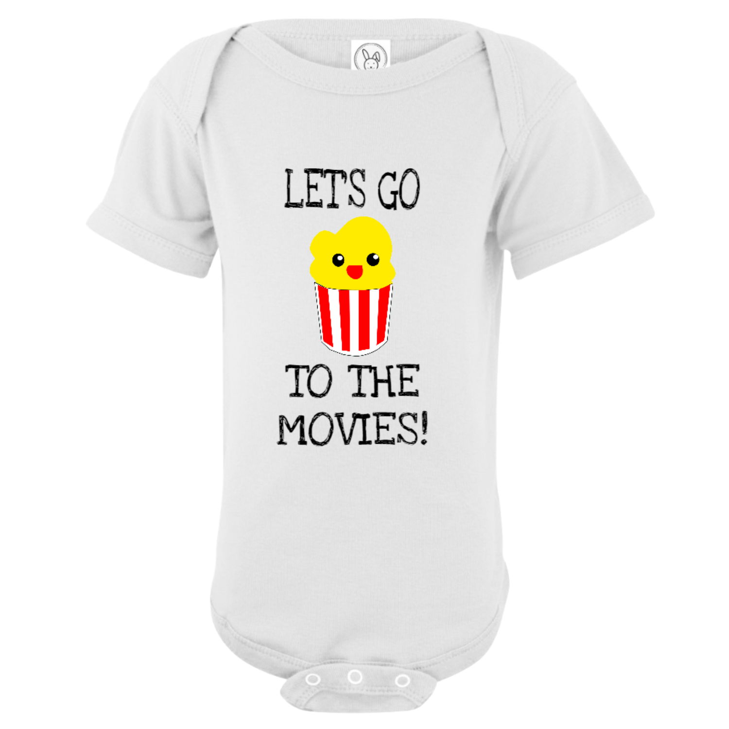 Let's Go To The Movies Baby Bodysuit White