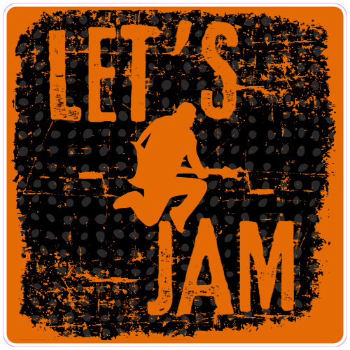 Lets Jam Guitar Player Sticker | U.S. Custom Stickers