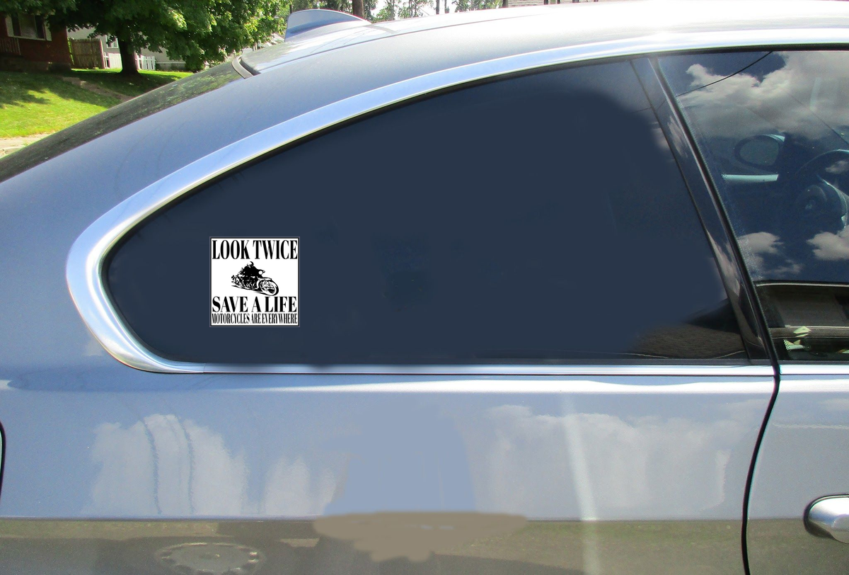 Look Twice Save A Life Motorcycle Sticker Car Sticker