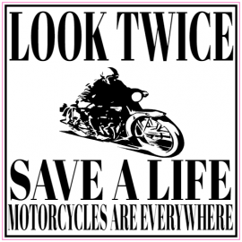 Look Twice Save A Life Motorcycle Sticker | U.S. Custom Stickers