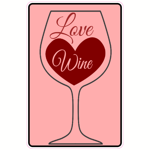 Love Wine Heart Glass Sticker | U.S. Custom Stickers