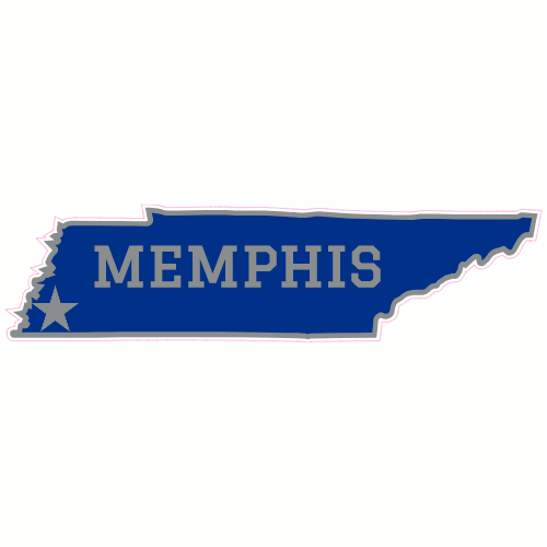 Memphis Tennessee State Shaped Sticker | U.S. Custom Stickers