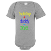 Mommy Plus Daddy Equals Me Baby Bodysuit Gray