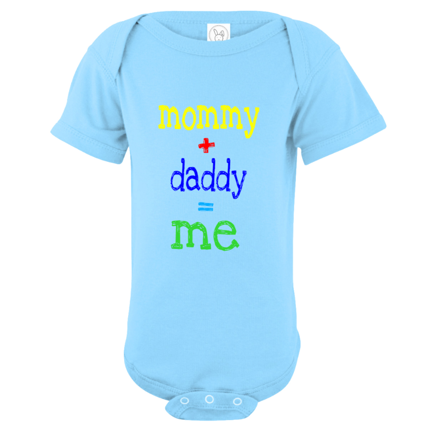Mommy Plus Daddy Equals Me Baby Bodysuit Light Blue