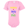 Mommy Plus Daddy Equals Me Baby Bodysuit Light Pink