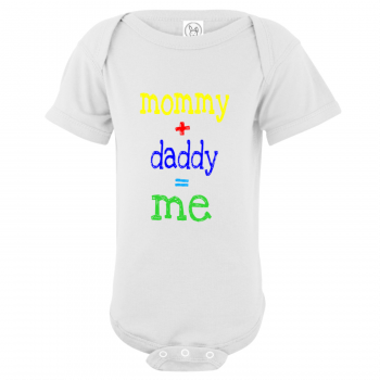 Mommy Plus Daddy Equals Me Baby Bodysuit White