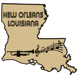 New Orleans Louisiana State Shaped Sticker | U.S. Custom Stickers