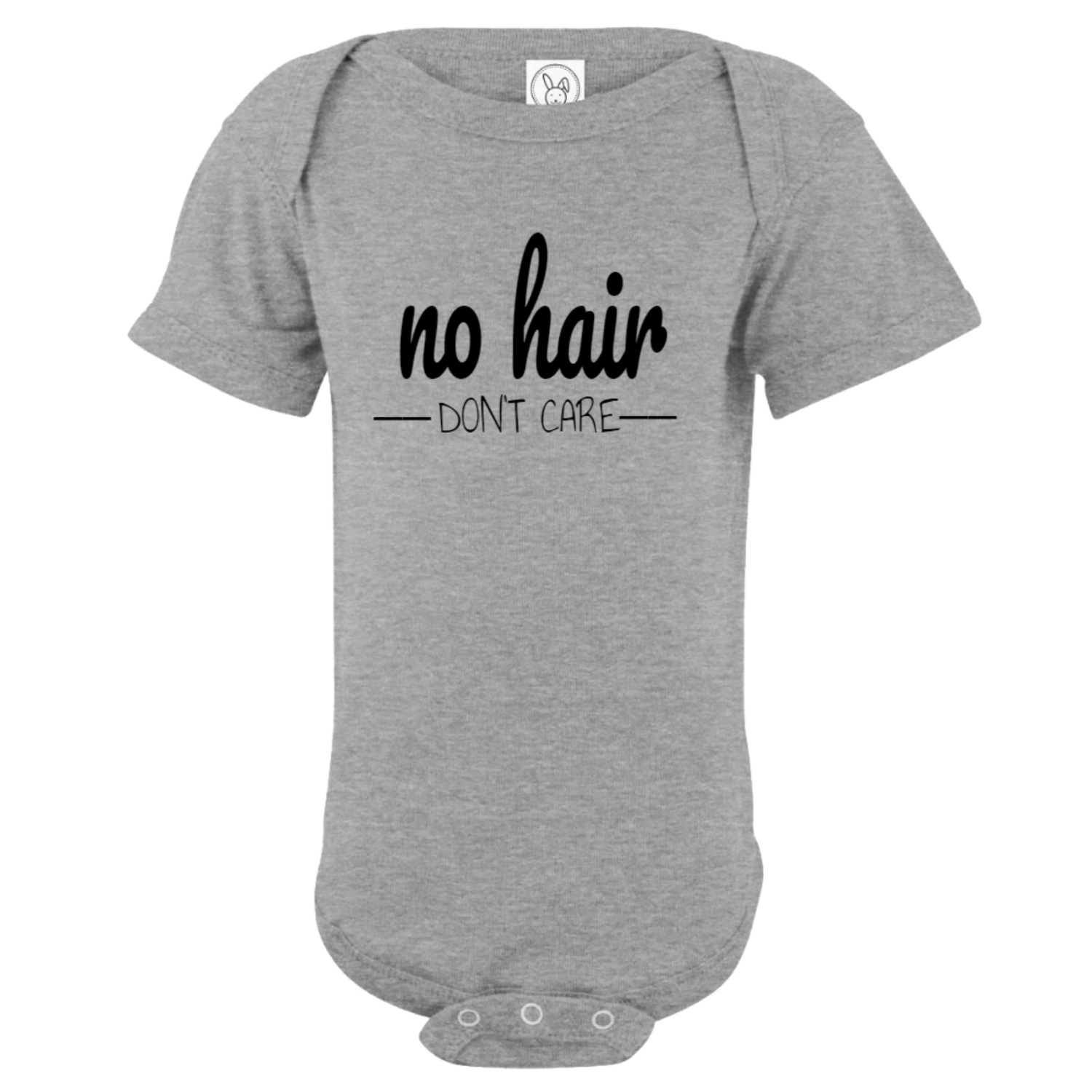 No Hair Don't Care Baby Bodysuit Gray
