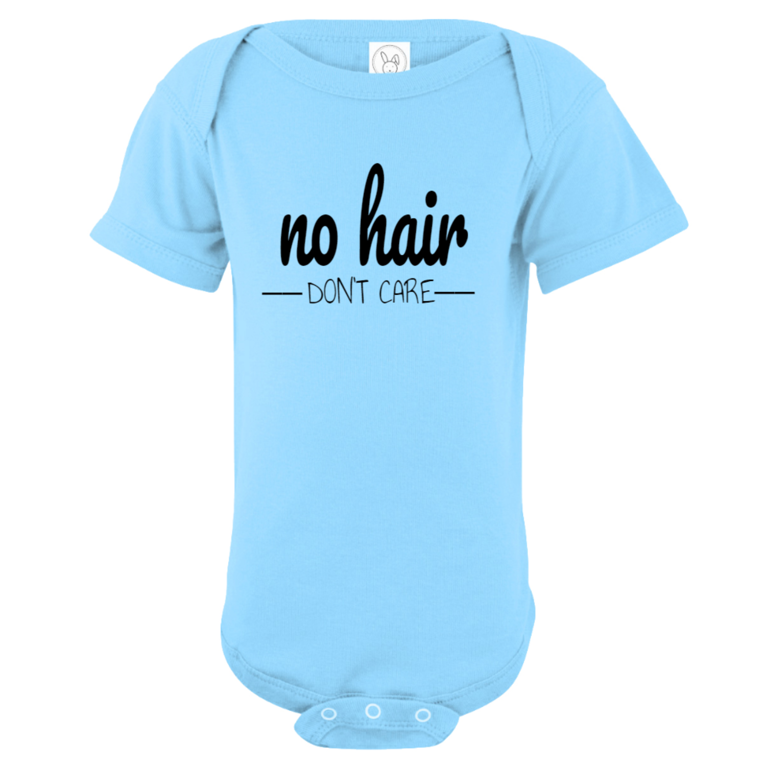No Hair Don't Care Baby Bodysuit Light Blue