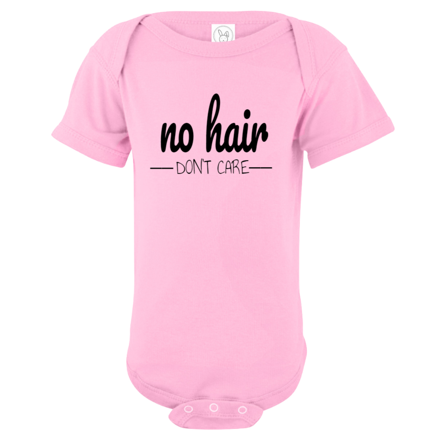 No Hair Don't Care Baby Bodysuit Light Pink