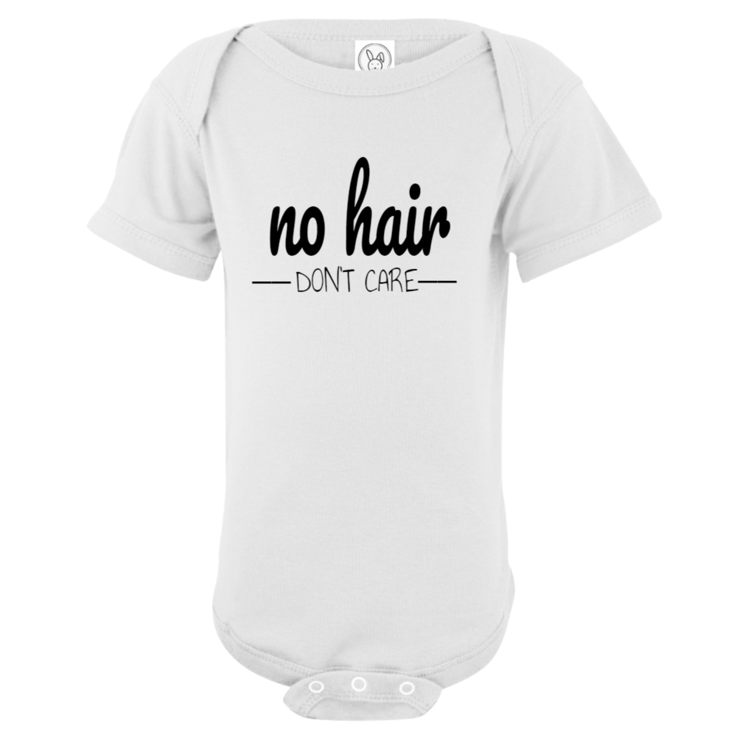No Hair Don't Care Baby Bodysuit White