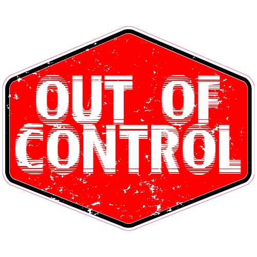 Out Of Control Red Sticker | U.S. Custom Stickers