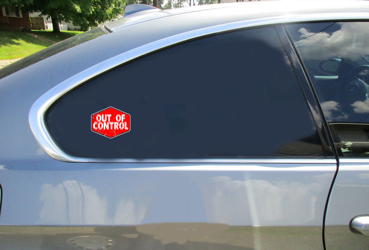 Out Of Control Red Sticker Car Sticker