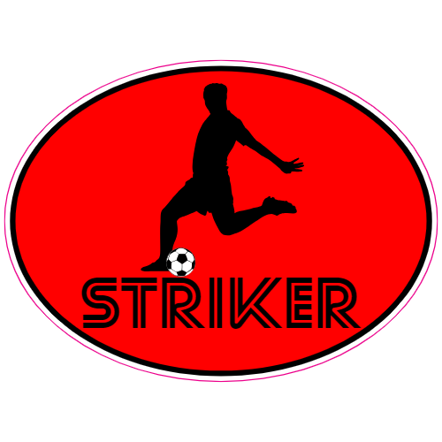 Striker Soccer Player Oval Sticker | U.S. Custom Stickers