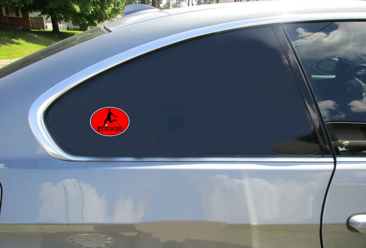 Striker Soccer Player Oval Sticker Car Sticker