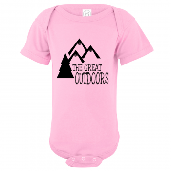 The Great Outdoors Mountain Baby Bodysuit Light Pink