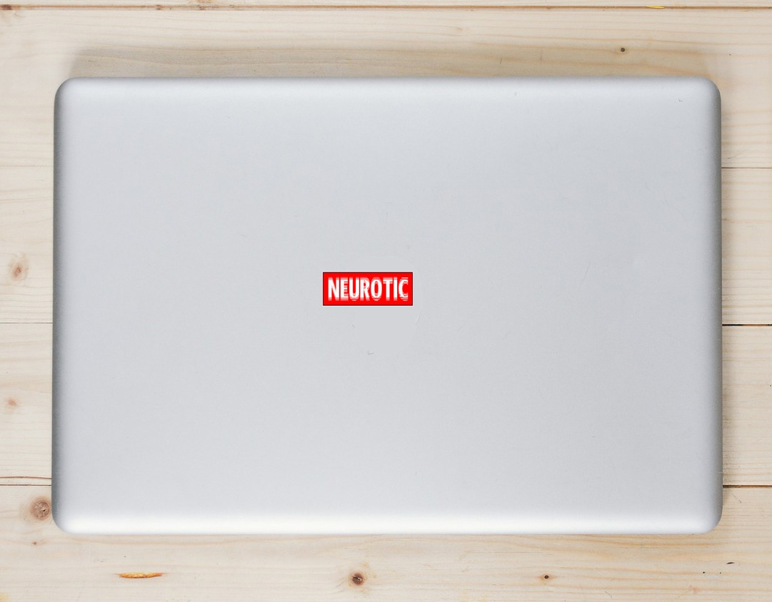 Neurotic Red Bumper Sticker Laptop Sticker