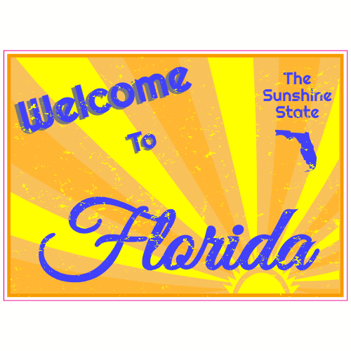 Welcome To Florida Vintage Sticker | U.S. Custom Stickers