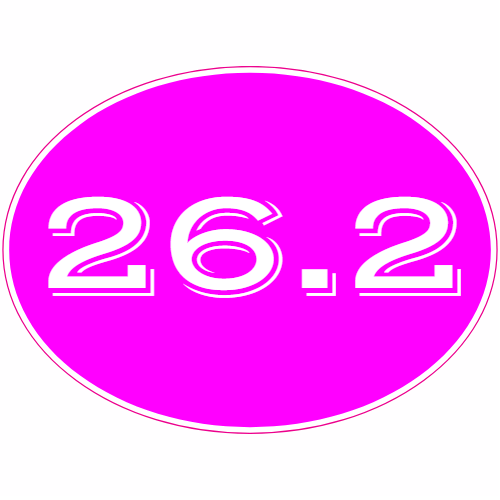26.2 Full Marathon Pink Oval Sticker | U.S. Custom Stickers