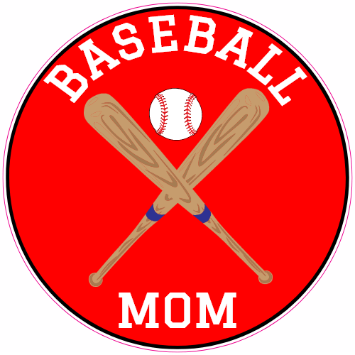 Baseball Mom Red Circle Sticker | U.S. Custom Stickers