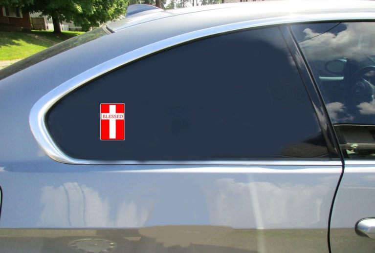 Blessed Christian Cross Red Sticker Car Sticker
