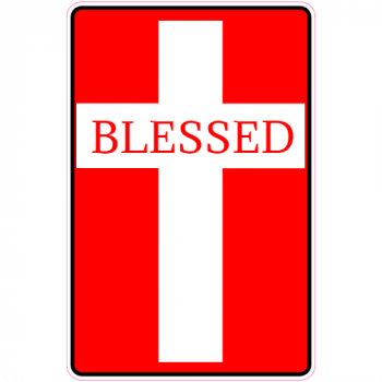 Blessed Christian Cross Red Sticker | U.S. Custom Stickers