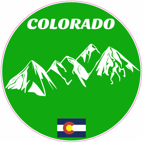 Colorado Mountains State Flag Green Circle Decal | U.S. Custom Stickers
