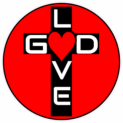 God Is Love Cross Circle Sticker | U.S. Custom Stickers