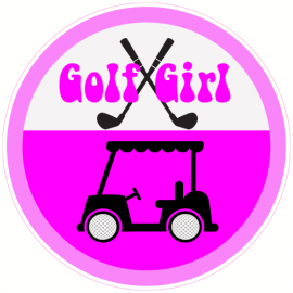 Golf Girl Circle Sticker | U.S. Custom Stickers