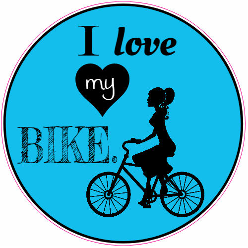 I Love My Bike Girl Circle Sticker | U.S. Custom Stickers