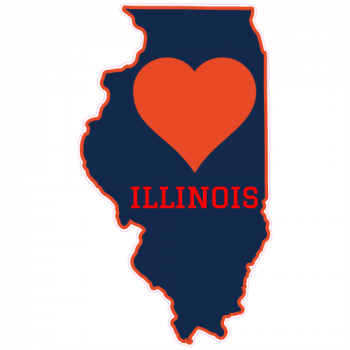 Illinois Heart State Shaped Sticker | U.S. Custom Stickers