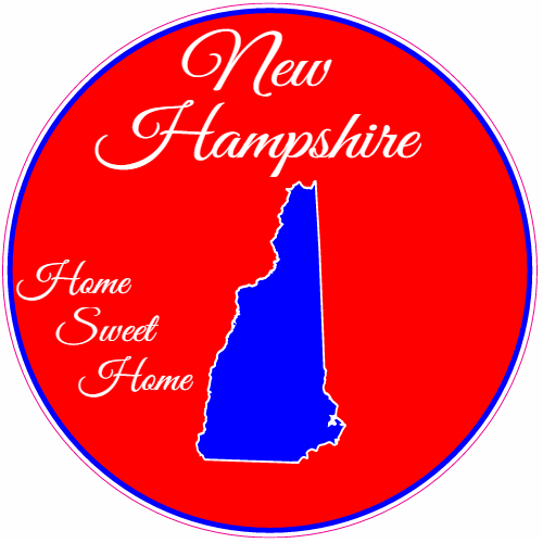 New Hampshire Home Sweet Home Circle Sticker | U.S. Custom Stickers