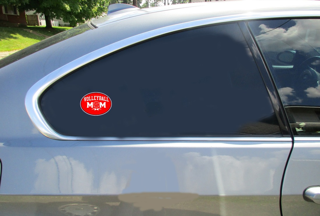 Volleyball Mom Oval Red Sticker Car Sticker