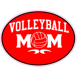 Volleyball Mom Oval Red Sticker | U.S. Custom Stickers