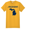 Michigan Blue And Gold State T Shirt Yellow Hanes Nano 4980 Ringspun Cotton T Shirt
