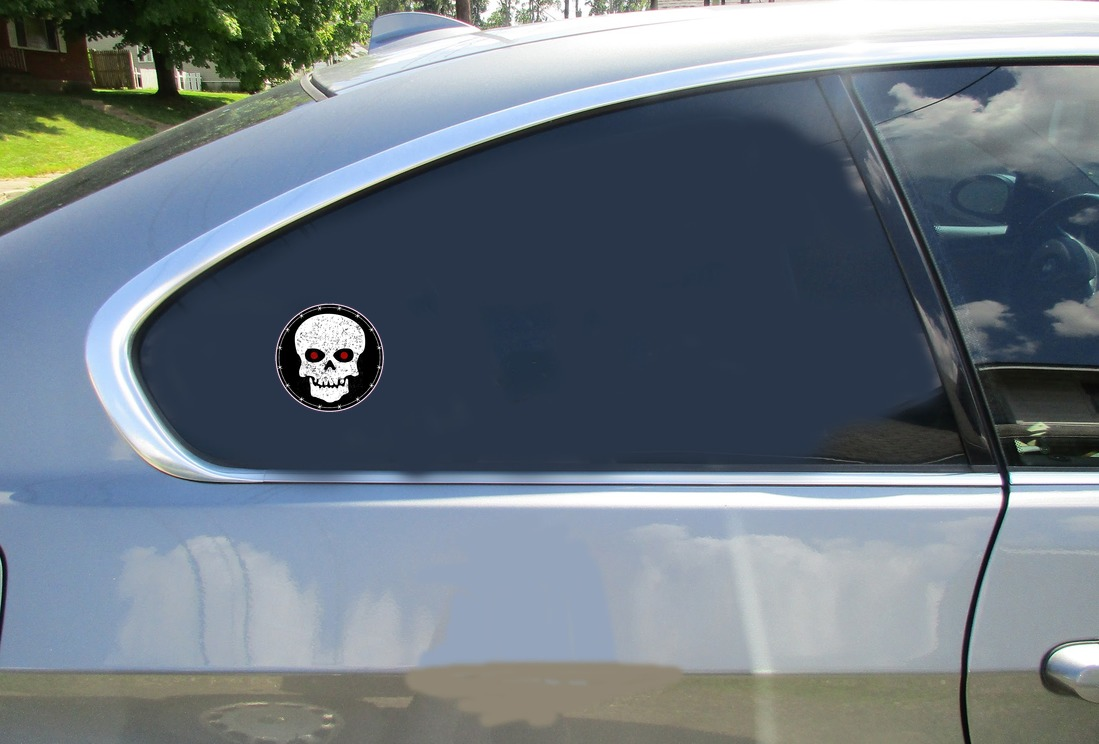 Skull With Red Eyes Circle Sticker Car Sticker