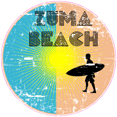 Zuma Beach Surfing Circle Sticker | U.S. Custom Stickers