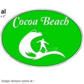 Cocoa Beach Surfing Green Oval Sticker Made With the Online Sticker Designer at U.S. Custom Stickers