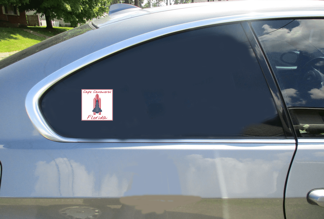 Cape Canaveral Florida Space Shuttle Square Decal Car Sticker