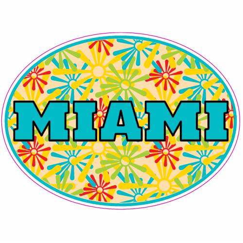 Miami Art Deco Oval Sticker | U.S. Custom Stickers
