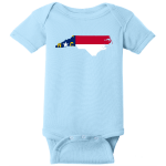 North Carolina State Flag Infant Bodysuit Light Blue Rabbit Skins Infant Short Sleeve Infant Rib Bodysuit RS4400