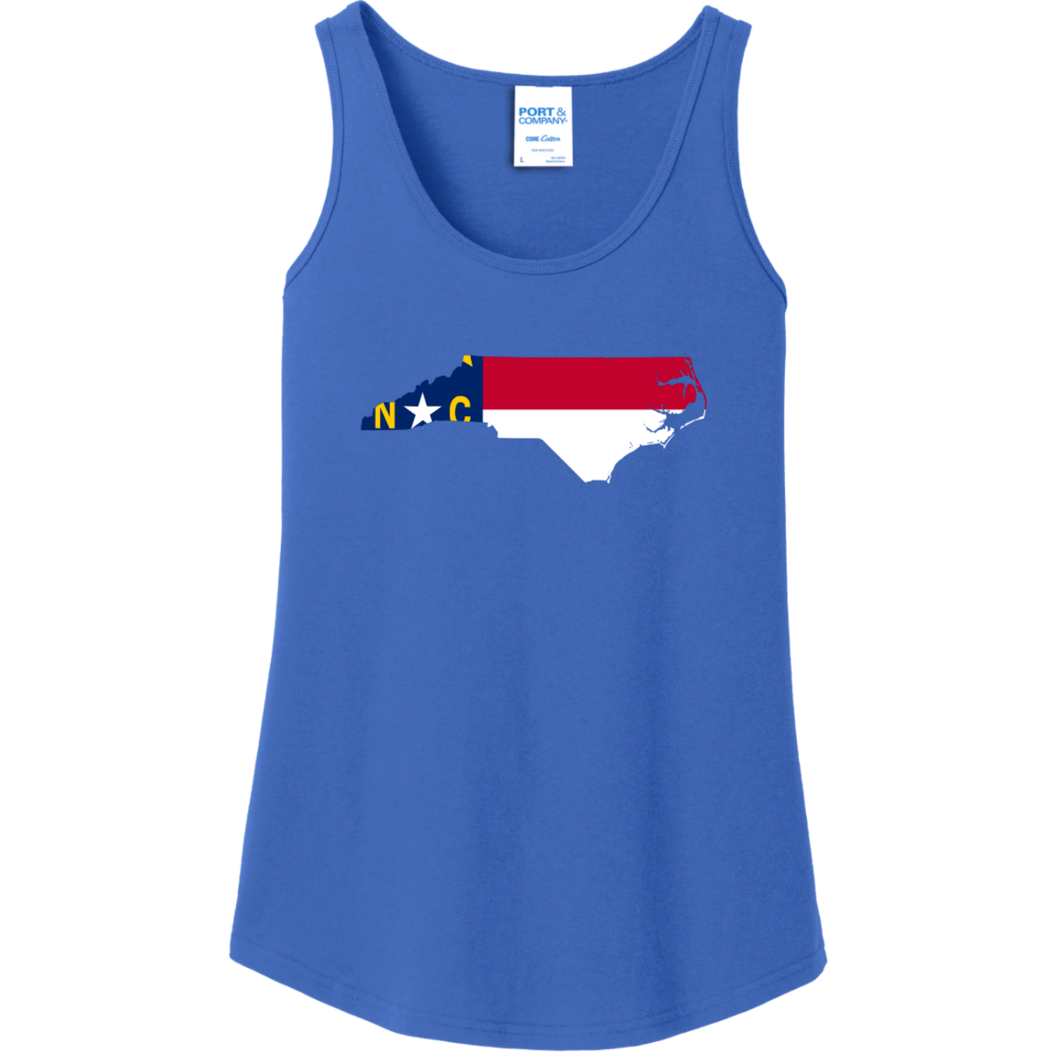 North Carolina State Flag Tank Top For Women Royal Port And Company Ladies Tank Top