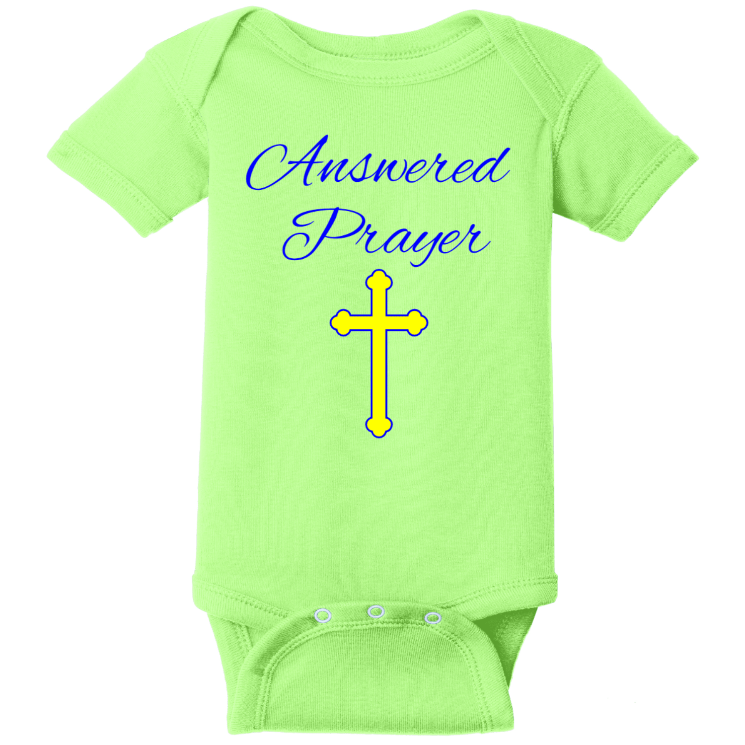 Prayer Answered Infant Onsie Key Lime Rabbit Skins Infant Short Sleeve Infant Rib Bodysuit RS4400