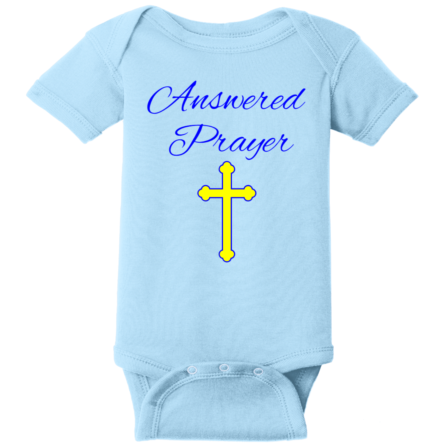 Prayer Answered Infant Onsie Light Blue Rabbit Skins Infant Short Sleeve Infant Rib Bodysuit RS4400