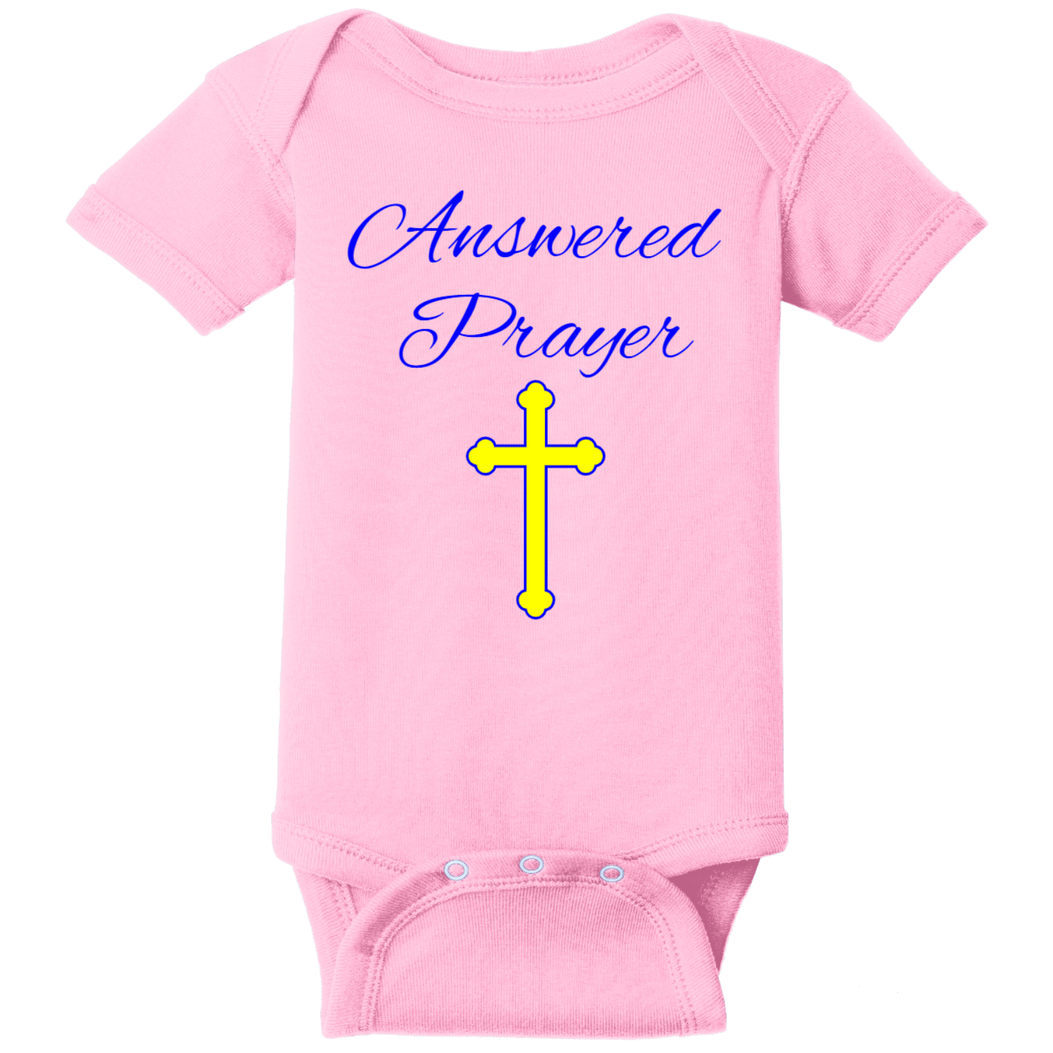 Prayer Answered Infant Onsie Pink Rabbit Skins Infant Short Sleeve Infant Rib Bodysuit RS4400