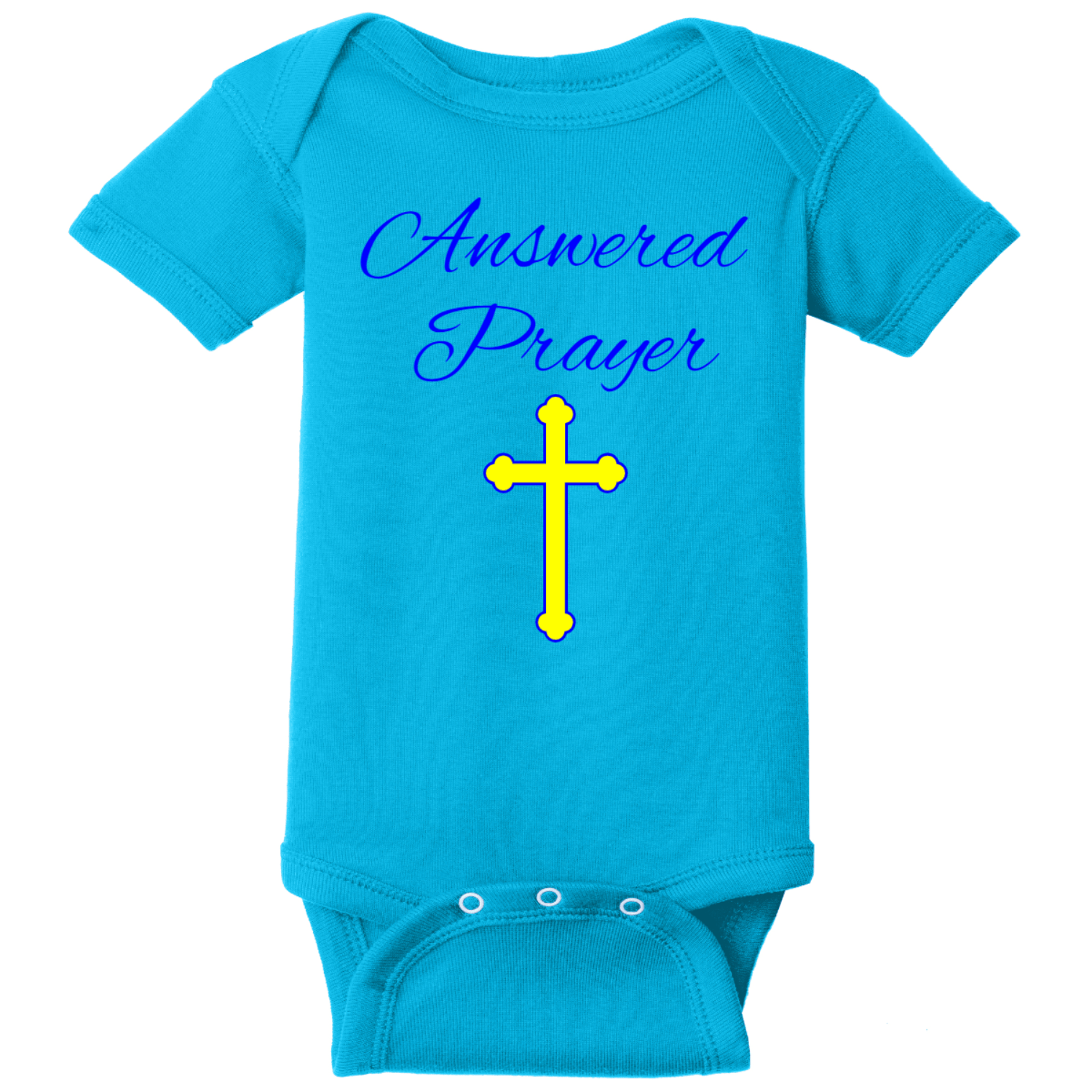 Prayer Answered Infant Onsie Turquoise Rabbit Skins Infant Short Sleeve Infant Rib Bodysuit RS4400