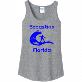 Sebastian Florida Surfing Tank Top For Women Athletic Heather Port And Company Ladies Tank Top LPC54TT