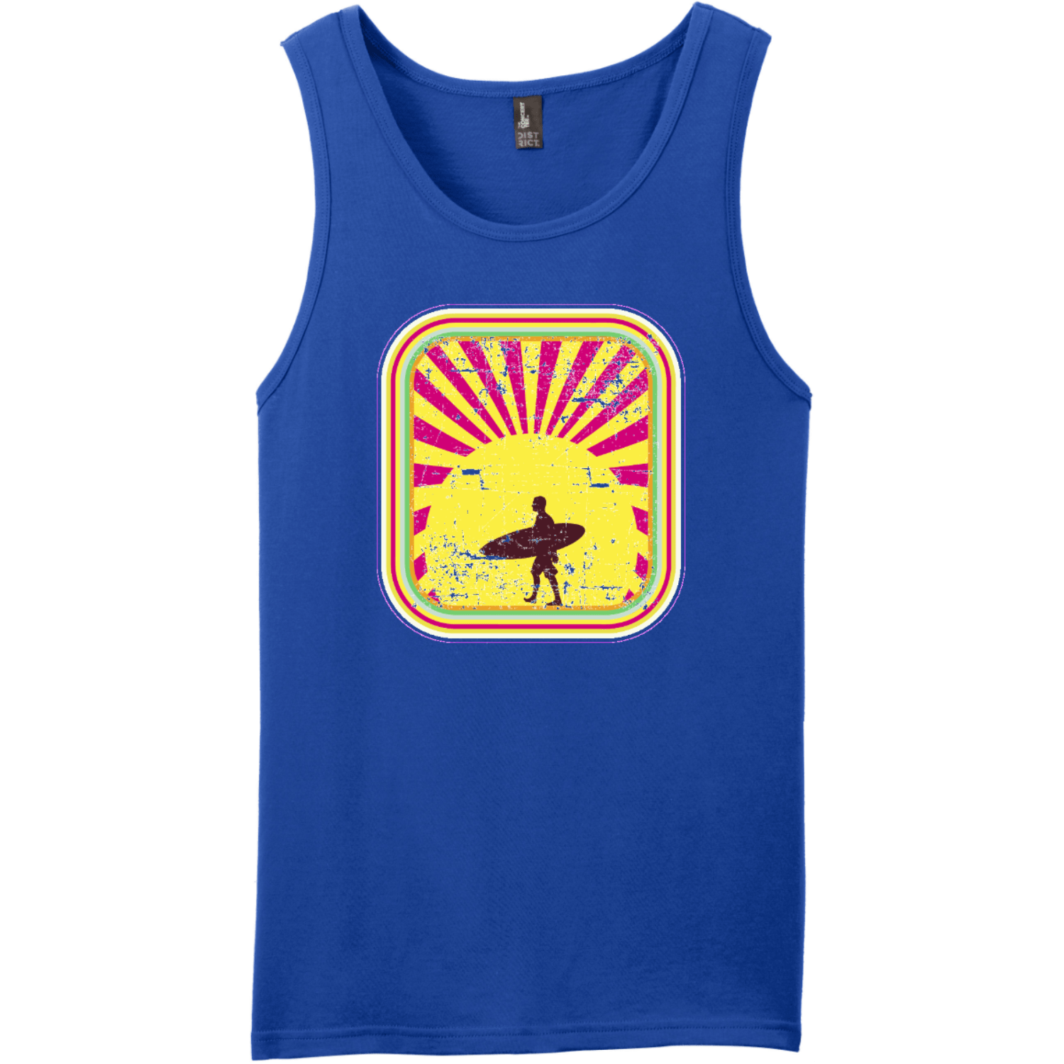 Surfer In The Retro Sunset Tank Top Deep Royal District Concert Tank Top DT5300